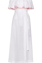 Lisa Marie Fernandez Mira Off The Shoulder Rickrack Trimmed Broderie Anglaise Cotton Midi Dress White