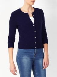 John Lewis Collection Weekend By Crew Neck Cashmere Cardigan Navy