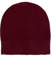 Pringle Ribbed Lambswool Beanie Burgundy