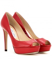 Jimmy Choo Dahlia Patent Leather Peep Toe Pumps Red