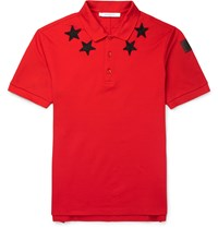 Givenchy Cuban Fit Star Appliqua D Cotton Pique Polo Shirt Red