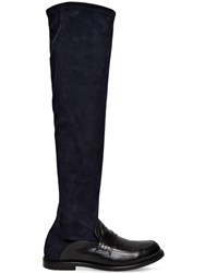 Loewe 20Mm Suede And Leather Tall Loafer Boots Black Navy