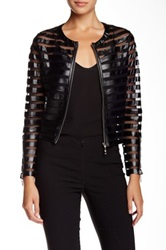Insight Faux Leather Mesh Striped Jacket Black