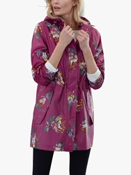Joules Golightly Pack Away Waterproof Floral Print Coat Berry Peony