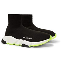 Balenciaga Speed Sock Stretch Knit Slip On Sneakers Black