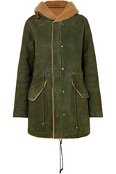 Mr And Mrs Italy Hooded Shearling Coat Forest Green