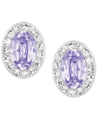 Swarovski Silver Tone Lavender Christie Oval Earrings