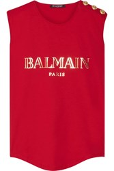 Balmain Button Embellished Printed Cotton Jersey Top Red