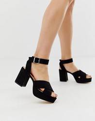London Rebel Platform Heeled Sandals Black