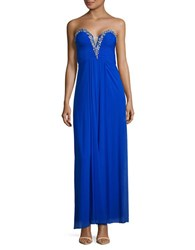 Betsy And Adam Pleated Embellished Strapless Gown Cobalt