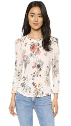 Rebecca Taylor Long Sleeve Meadow Flower Tee Pink Combo