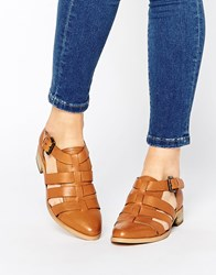 Park Lane Strappy T Bar Leather Flat Shoes Tan