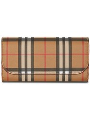 Burberry Vintage Check And Leather Continental Wallet Yellow And Orange