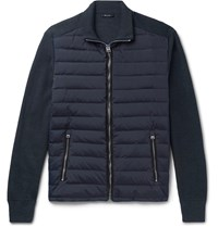 Tom Ford Ribbed Wool And Quilted Shell Down Jacket Blue