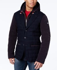 Armani Jeans Zip Front Hooded Blazer Navy