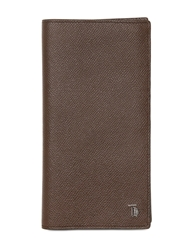 Tod's Embossed Leather Continental Wallet Dark Brown