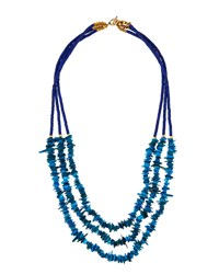Panacea Long Howlite And Shell Beaded Triple Strand Necklace. Turquoise Multi Women's