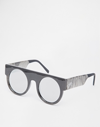 Cheap Monday Flat Brow Round Sunglasses Whitemarble