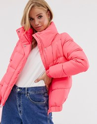 Brave Soul Slay Cropped Padded Coat In Neon Pink