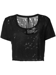 Unravel Project Distressed T Shirt Black