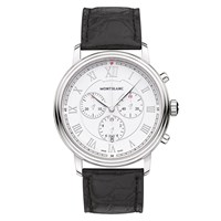 Montblanc 114339 Men's Tradition Chronograph Alligator Leather Strap Watch Black White