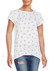 Kensie Clam Shell Print Top White Combo