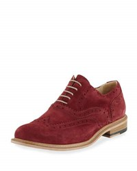 Bugatchi Sienna Brogue Suede Wing Tip Oxford Red