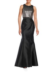 Xscape Evenings Sequined Cropped Top And Skirt Set Black Taupe