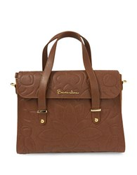 Braccialini Silvia Boston Suede And Saffiano Leather Satchel Bag Cognac