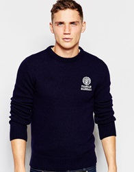 Franklin And Marshall Lambswool Knitted Crew Neck Jumper Navy