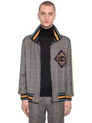 Dolce And Gabbana Zip Up Checked Wool Blend Jacket Brown