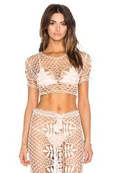 For Love And Lemons St. Tropez Crochet Top Ivory