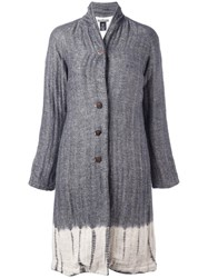 Suzusan Tie Dye Herringbone Coat Grey