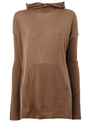 Rick Owens Hooded Jumper Brown
