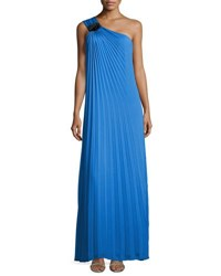 Halston Pleated One Shoulder Gown With Flower Detail Aquamarine