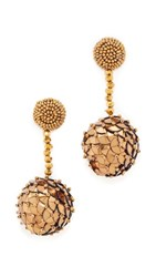 Oscar De La Renta Beaded Sequin Ball Earrings Gold