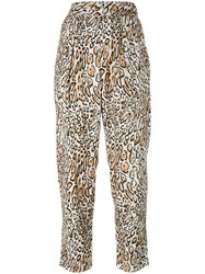 Raquel Allegra Leopard Print Cropped Trousers Women Silk 2 Nude Neutrals
