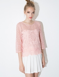 Pixie Market Blush Lace Top