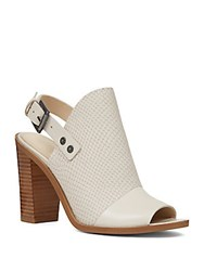 Nine West Leather Peep Toe Mules White