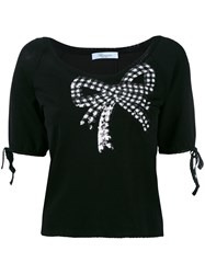 Blumarine Sequin Embellished Shortsleeved Sweater Women Polyamide Viscose 44 Black