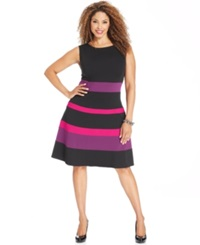 Ny Collection Plus Size Sleeveless Ponte Knit Colorblocked A Line Dress Rose Multi