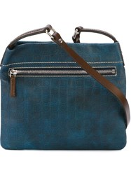 Salvatore Ferragamo Gancio Embossed Messenger Bag Blue