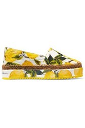 Dolce And Gabbana Woman Printed Jacquard Espadrilles Yellow