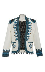 Talitha Button Embroidered Jacket White