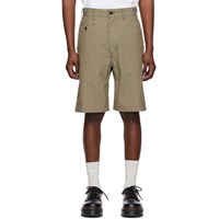 Junya Watanabe Beige And Brown Check Military Cord Shorts