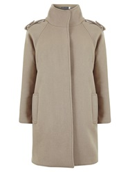 Mint Velvet Military Wool Blend Coat Camel