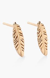 Women's Alex And Ani 'Symbolic' Feather Stud Earrings Gold