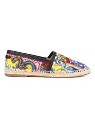 Dolce And Gabbana Printed Canvas Espadrilles Multicolour