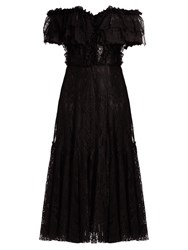 Dolce And Gabbana Off The Shoulder Lace Midi Dress Black