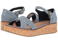 Toms Harper Wedge Blue Slub Chambray Women's Wedge Shoes